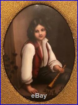 Antique KPM-Hutschenreuther Porcelain Plaque (Boy with Flute)