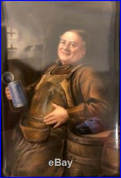Antique KPM-Hutschenreuther Porcelain Plaque (Man Drinking Beer)