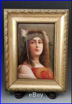 Antique KPM Hutschenreuther Porcelain Portrait Plaque Cleopatra Signed Wagner