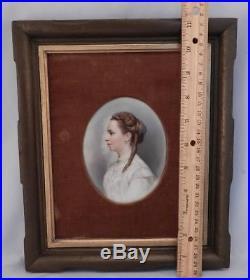Antique KPM Miniature Porcelain PLAQUESigned WENNERPortrait Painting of Woman