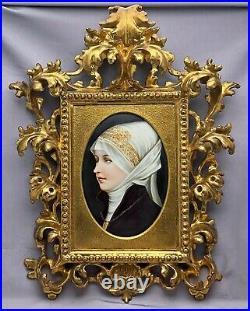 Antique KPM Painted Porcelain Portrait Plaque Carved Gilt Wood Rococo Frame