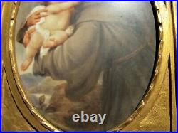 Antique KPM Painting Porcelain Plaque Hand Painted St Anthony With Baby