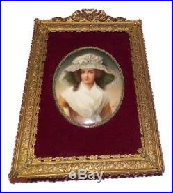 Antique KPM Painting on Porcelain Plaque, Lady Wearing Hat Signed Wagner