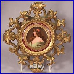 Antique KPM Painting on Porcelain Plaque Original Carved Gilt Wood Frame
