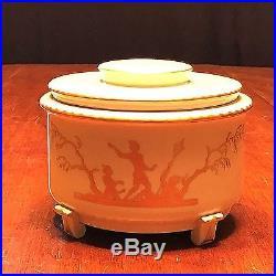 Antique KPM Porcelain Art Deco Covered Ladies Box With Gold Silhouette Figures