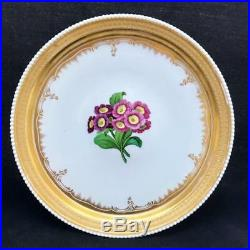 Antique KPM Porcelain Berlin 2 Piece Footed Plate Cake Stand w Primroses Gilding