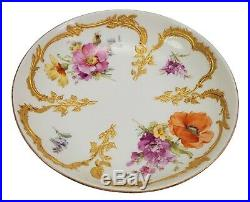 Antique KPM Porcelain Berlin Hand Painted Poppy Floral Saucer