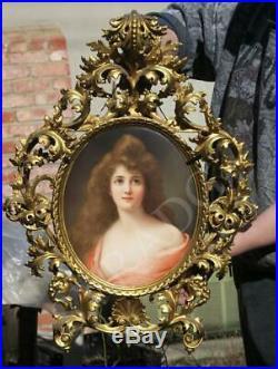 Antique KPM Porcelain Berlin plaque Florentine ROCOCO frame Asti girl Wagner