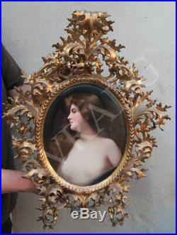 Antique KPM Porcelain Berlin plaque Florentine ROCOCO frame Asti girl Wagner sgn