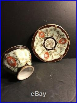 Antique KPM Porcelain Cup & Saucer/ Red, Brown And Gold Gild, Circa 1870