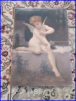 Antique KPM Porcelain Cupid Oblong Plaque with Signature & Seal