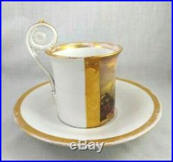 Antique KPM Porcelain Gilt Soldier Mourning Cup & Saucer Set