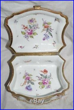 Antique KPM Porcelain Jewelry Casket Box Enamel Gild Bronze France Courting