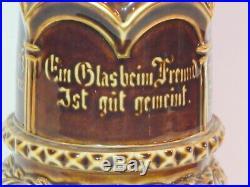 Antique KPM Porcelain Lidded Pokal or Humpen with German Symbols and Phrases