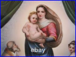 Antique KPM Porcelain Painted SISTINE MADONNA After Raphael Plaque Rococo Frame