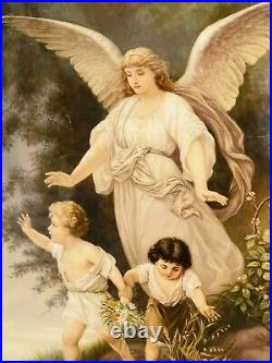 Antique KPM Porcelain Plague Of An Angel With Children Outstanding Quality 19c