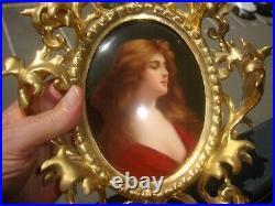 Antique KPM Porcelain Plaque Asti in Gilt Wood Frame