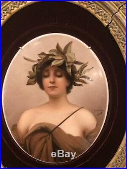 Antique KPM Porcelain Plaque Daphne Signed Circa 1880