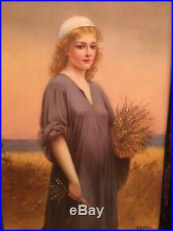Antique KPM Porcelain Plaque Hand-painted in Gilt Frame of a Blonde Ruth RARE