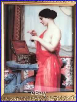 Antique KPM Porcelain Plaque Nude Lady With Gold Frame