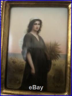 Antique KPM Porcelain Plaque Ruth Signed wagner Circa 1880