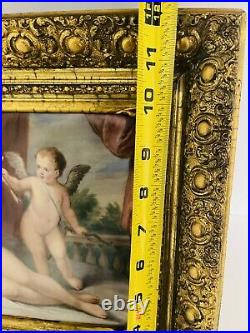 Antique KPM Porcelain Plaque Venus And Cupid Artist Signed 19c