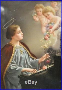Antique KPM Porcelain Plaque of St. Cecilia Signed by Wagner