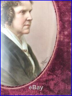 Antique KPM Porcelain Portrait Painting Hand Painted by Josef Ahne Woman 7