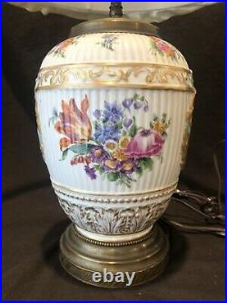 Antique KPM Royal Berlin German Porcelain Children Hunt Lamp Flower Rose