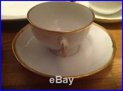 Antique KPM Royal Berlin Porcelain (17 Piece Tea Set) White & Gold Trim c1880