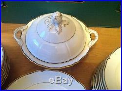 Antique KPM Royal Berlin Porcelain (32 Piece Dinner Service) White & Gold Trim