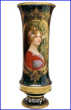 Antique KPM Royal Berlin Porcelain Portrait Vase Signed Richter 19 1/4 Tall