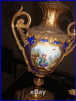 Antique KPM Sevres Porcelain Bronze Clock