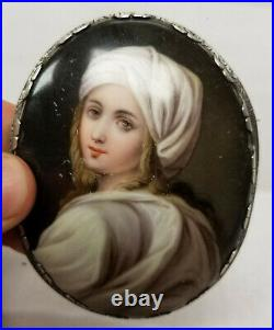 Antique KPM Style Porcelain Plaque After Raphael Sterling Silver Frame Miniature