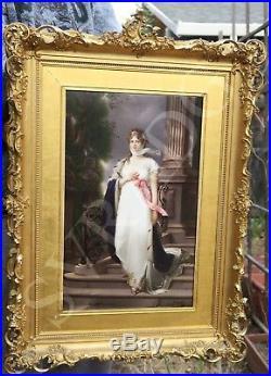Antique KPM Wagner Porcelain Berlin plaque Victorian frame Quinn Louise Prussia