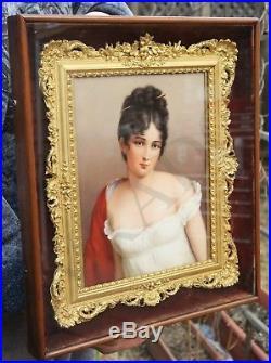 Antique KPM Wagner Porcelain Berlin plaque frame Recamier Napoleon admiration