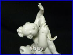 Antique KPM White Blanc De Shine Porcelain Boy Riding Dolphin 9 Figurine Signed