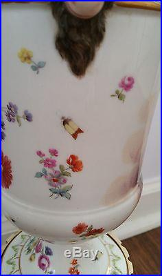 Antique KPM or Meissen insect flower and 3 Angles Rams Porcelain Vase Table Lamp
