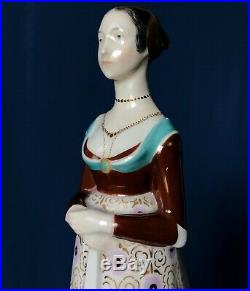 Antique KPM porcelain figurine woman with whippet dog Restored