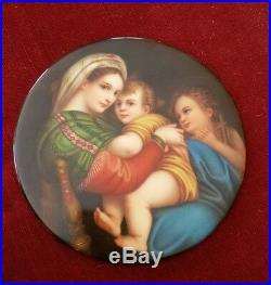 Antique KPM porcelain plaque painting Raphael Maddona Della Sedia