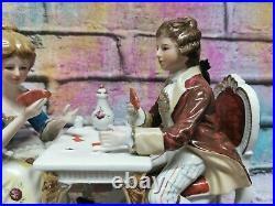 Antique KPM porzellan Dresden Style Couple Playing cards game Porcelain Figurine