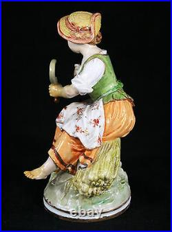 Antique Kpm Berlin Germany Porcelain Figurine Of A Girl With Sickle