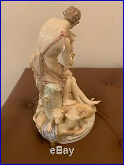 Antique Kpm Berlin Porcelain Figurine Group Maidens With Wine And Lions