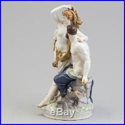 Antique Kpm Berlin Porcelain Group Figurine Hercules & Omphale With Cherub