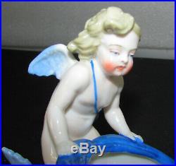 Antique Kpm German Porcelain Cherub Riding Dolphin Figurine