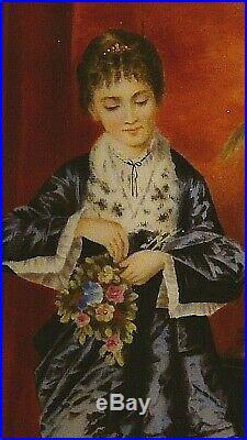 Antique Kpm Painted Porcelain Plaque Of Woman In Lavish Interior Holding Flowers