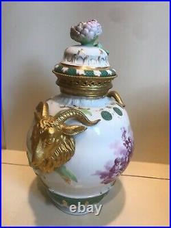 Antique Kpm Porcelain Bronze Mounted Urn With LID