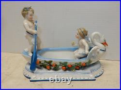 Antique Kpm Porcelain Figurine Girl And Boy Cherubs In Boat