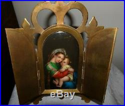 Antique Kpm Porcelain Madonna & Child Hand Painted Icon Elegant Frame Religious