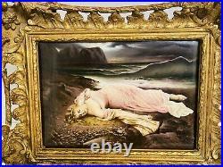 Antique Kpm Porcelain Plaque Of A Sleeping Beauty 19c